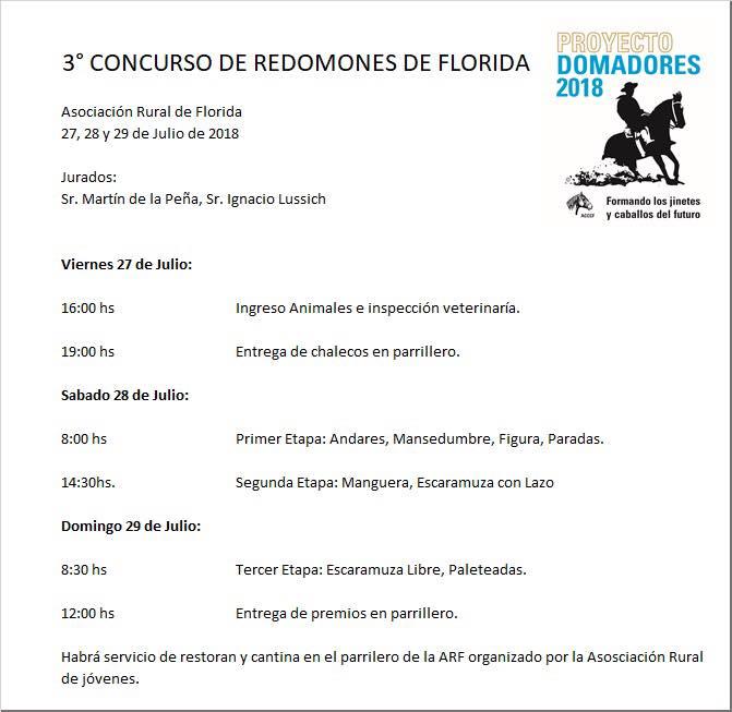 3er. Concurso de Redomones Florida 2018